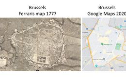 E85 - Brussels map of 1777 and Google Maps of Brussels 2020