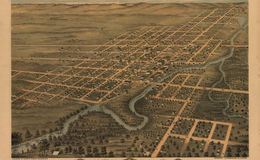 E66 - Birds Eye View of the City  of Rochester Olmsted County Minnesota - 1869