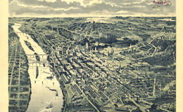 E66 - Birds Eye View of St Paul Looking West from Daytons Bluff - 1893