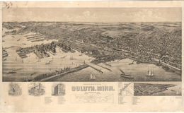E66 - Perspective Map of Duluth Minnesota - 1893